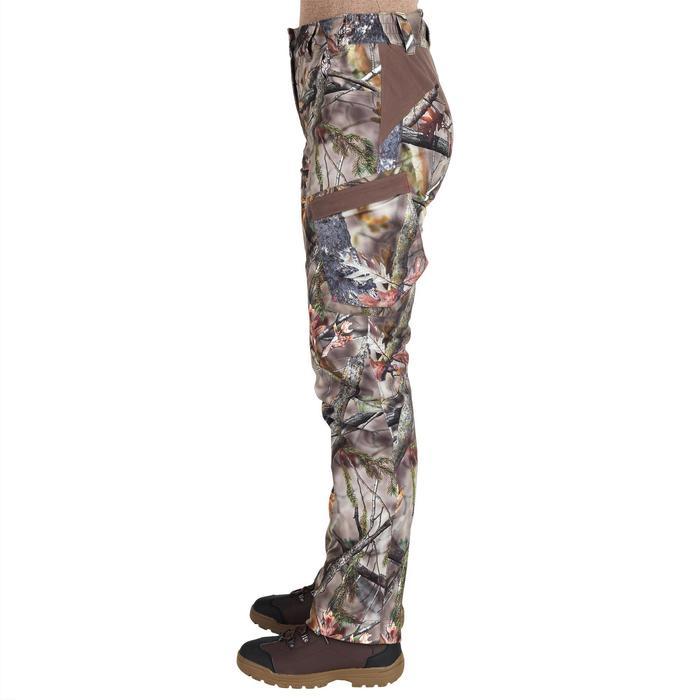 Pantalon Caza Solognac 500 Mujer Impermeable Calido Camuflaje Marron