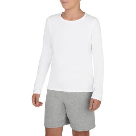 100 T-Shirt Gym Perempuan Lengan Panjang - Putih