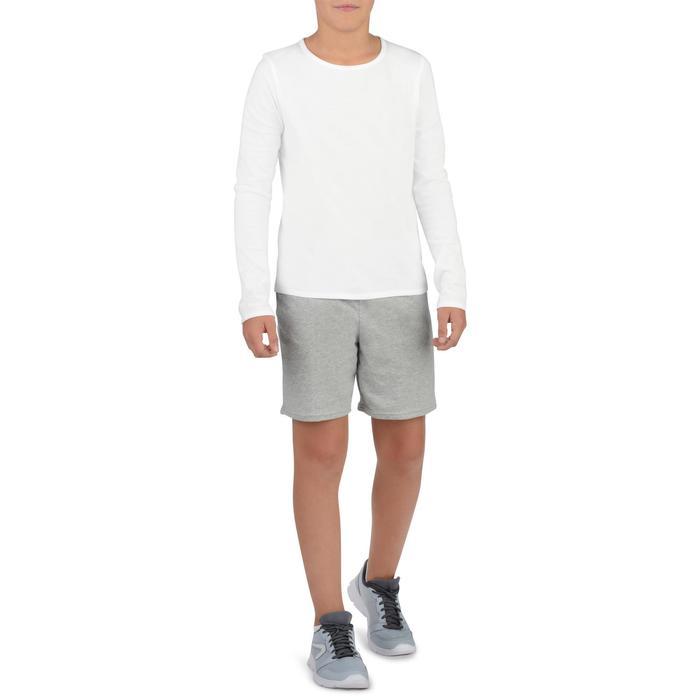 Shirt met lange mouwen voor gym meisjes 100 wit