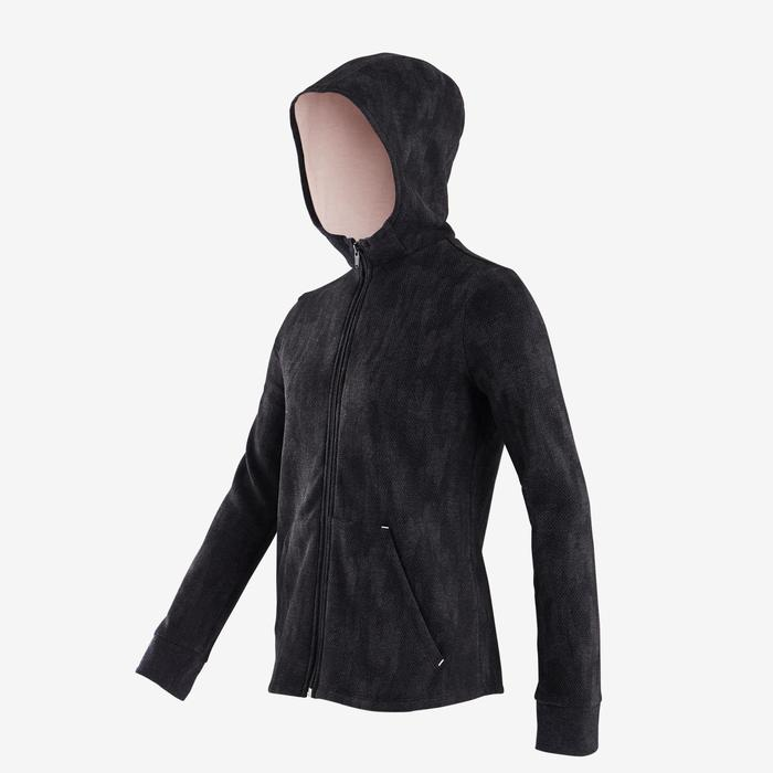 Veste capuche chaude 100 fille GYM ENFANT gris imprimé noir, capuche rose