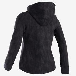 Warme gymhoodie voor meisjes 100 grijs met zwarte print, roze kap