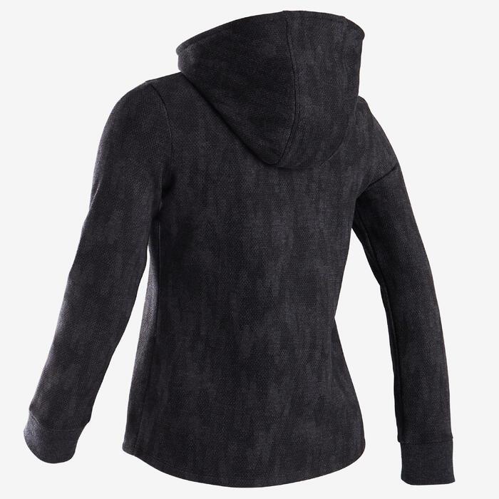 Warme hoodie met rits voor gym meisjes 100 grijs/zwart print roze capuchon