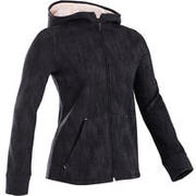 100 Girls' Warm Hooded Gym Jacket - Grey/Black Print/Pink Hood