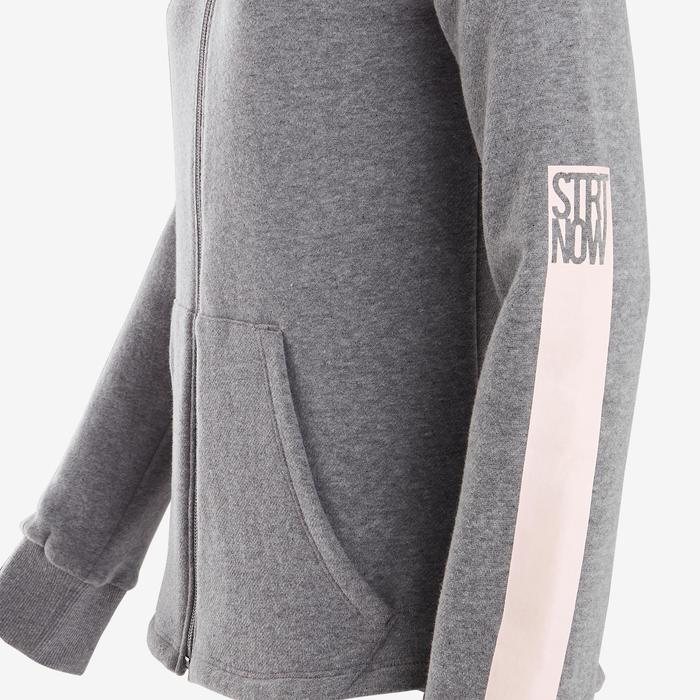 Warme hoodie met rits voor gym meisjes 100 middengrijs/zwarte capuchon