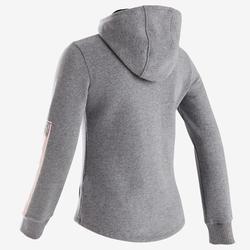100 Girls' Warm Hooded Gym Jacket - Mid Grey/Black Hood
