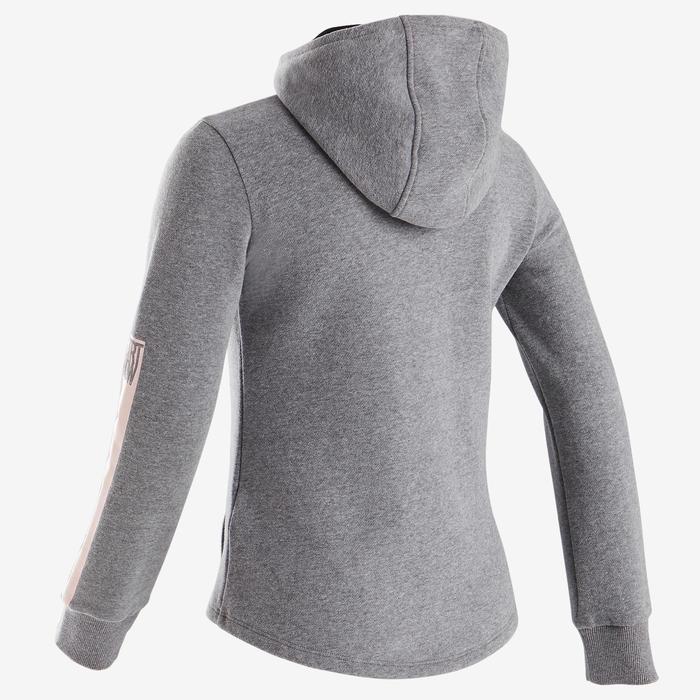 Kapuzenjacke warm 100 Gym Kinder grau/schwarze Kapuze