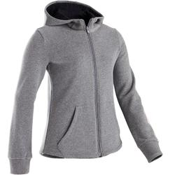 100 Girls' Warm Hooded Gym Jacket - Mid Grey/Black Hood