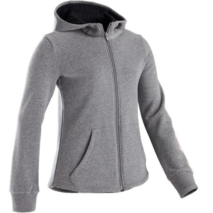 Veste capuche chaude 100 fille GYM ENFANT gris moyen, capuche noire