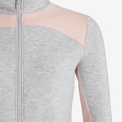 Kapuzenjacke warm Baumwolle atmungsaktiv 500 Gym Kinder hellgrau meliert