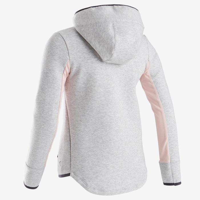 Warme ademende hoodie met rits voor gym meisjes 500 katoen gemêleerd lichtgrijs