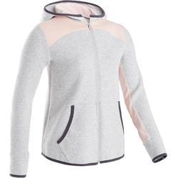 Warme en ademende hoodie met rits gym meisjes 500 katoen gemêleerd lichtgrijs