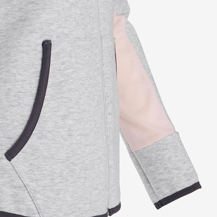 Veste capuche chaude, coton respirant 500 fille GYM ENFANT gris chiné clair