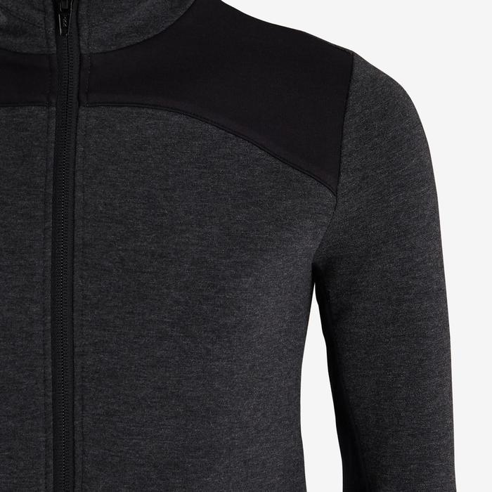 Kapuzenjacke warm Baumwolle atmungsaktiv 500 Gym Kinder dunkelgrau meliert