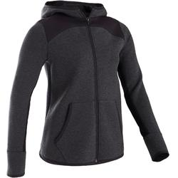 Warme ademende hoodie met rits voor gym meisjes 500 katoen gemêleerd donkergrijs