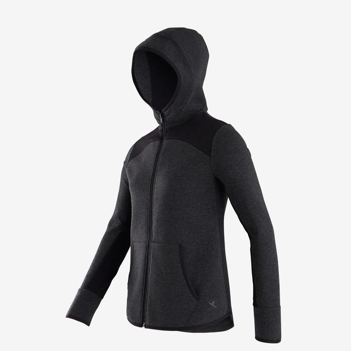 Veste capuche chaude, coton respirant 500 fille GYM ENFANT gris chiné foncé