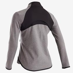 Warm en ademend gymvest voor meisjes S900 grijs met zwarte inzetstukken