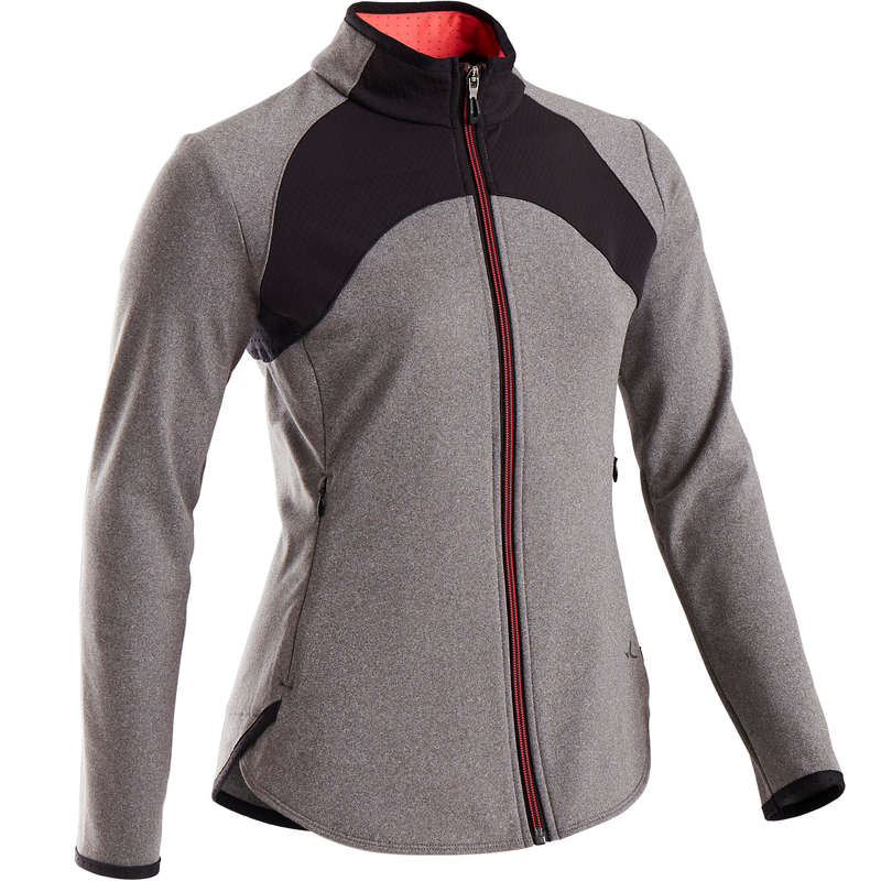 GIRL EDUCATIONAL GYM COLD WEATHER APP Fitness and Gym - S900 Girls' Gym Jacket - Grey DOMYOS - Gym Activewear