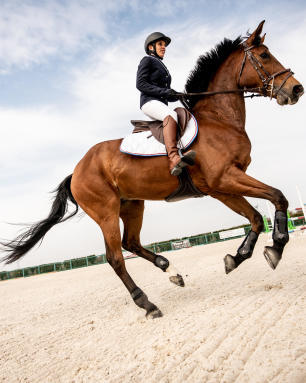 Ruiter op haar paard in galop