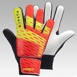 Sarung Tangan Penjaga Gawang Sepak Bola First Anak - Oranye/Hitam/Kuning