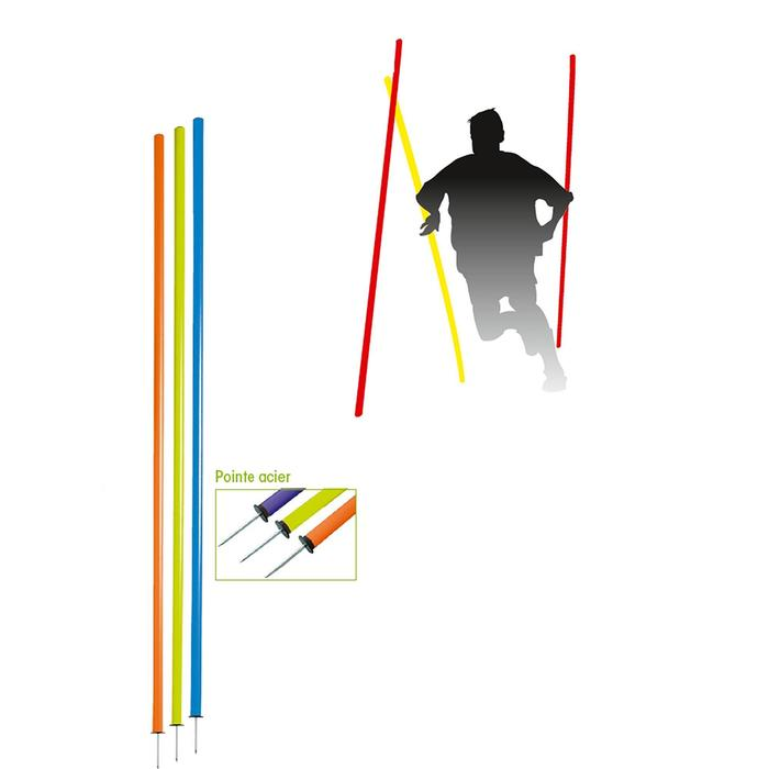 Set van 3 slalomstokken voor de training geel/rood