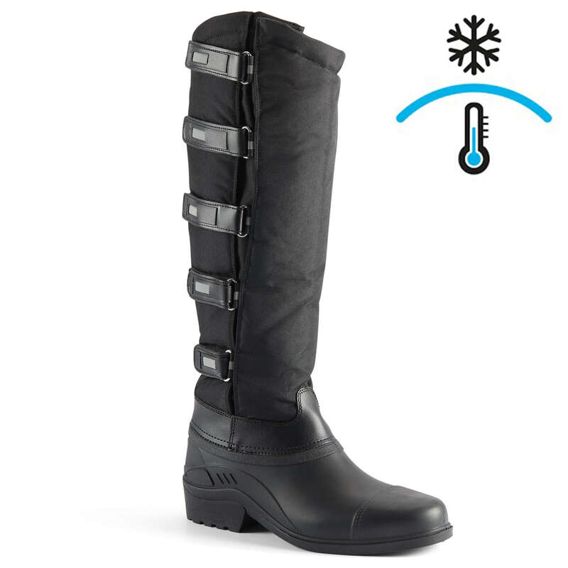 COLD WEATHER LONG RIDING BOOTS ADULT Horse Riding - Warm Rip-Tab Boots - Black KERBL - Horse Riding