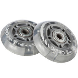 2 Kids' Skate Wheels with Bearings 70mm 80A Flash