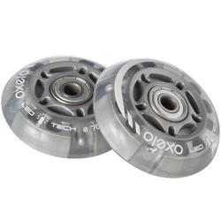 Ruedas Luminosas x2 Patinaje Patiente Skateboard Oxelo 70 MM