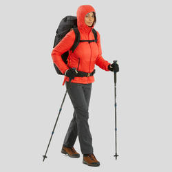 Manteau de randonnée en montagne RANDO 100 capuchon femme rouge