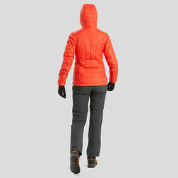 Women's Hooded Mountain Trekking Down Jacket TREK 100 - Red