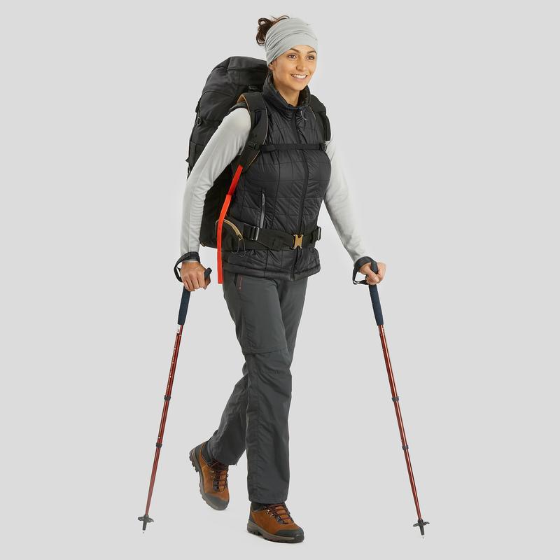 Pantalón transformable trekking en montaña TREK 100 mujer gris oscuro