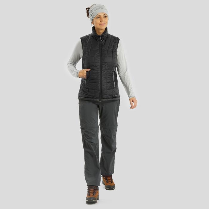 T-shirt manches longues laine mérinos de trek montagne - TREK 500 gris femme
