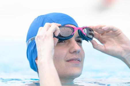 Mesh Fabric Swim Cap, Sizes S and L - Blue