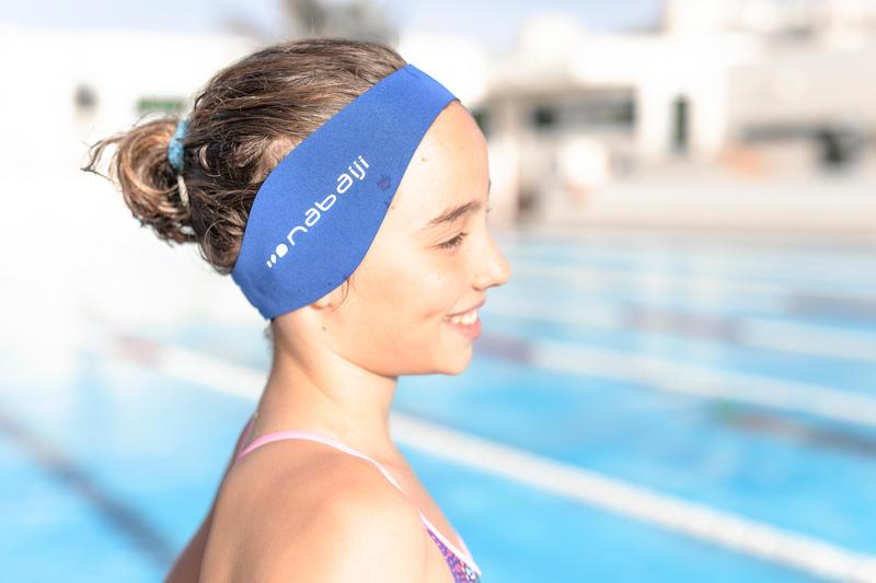 แถบคาดศีรษะสำหรับว่ายน้ำแบบกลับด้านได้ขนาด L (สีน้ำเงิน INDIGO)