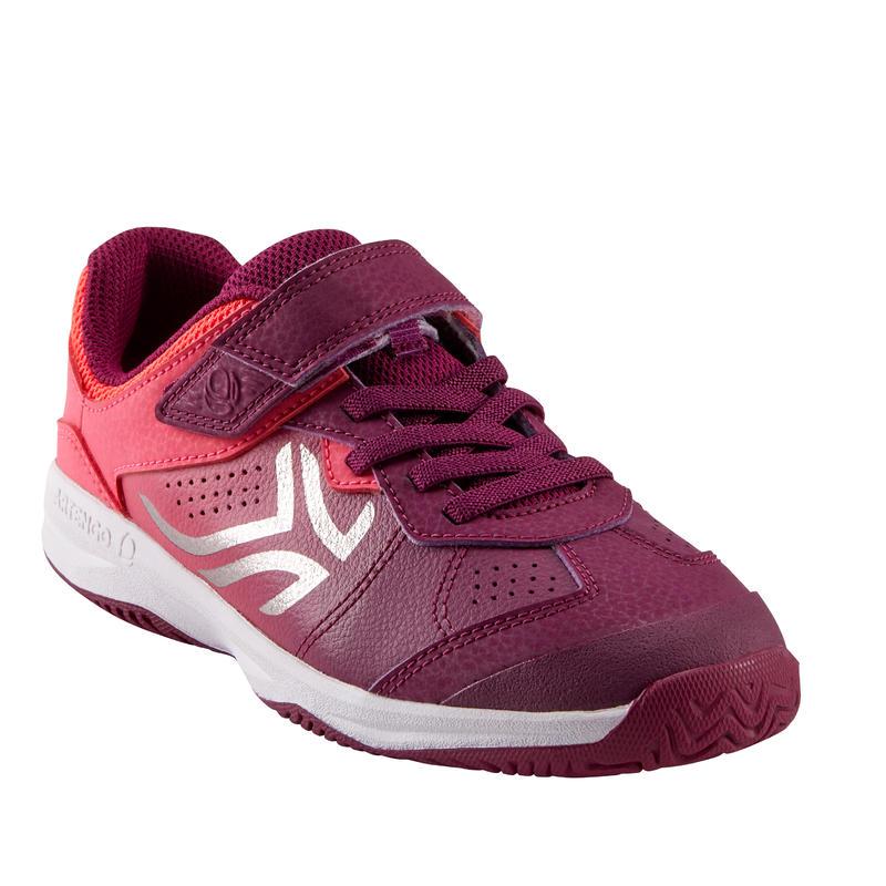 รองเท้าเด็กสำหรับใส่เล่นเทนนิสรุ่น TS160 (สีม่วง/ชมพู)