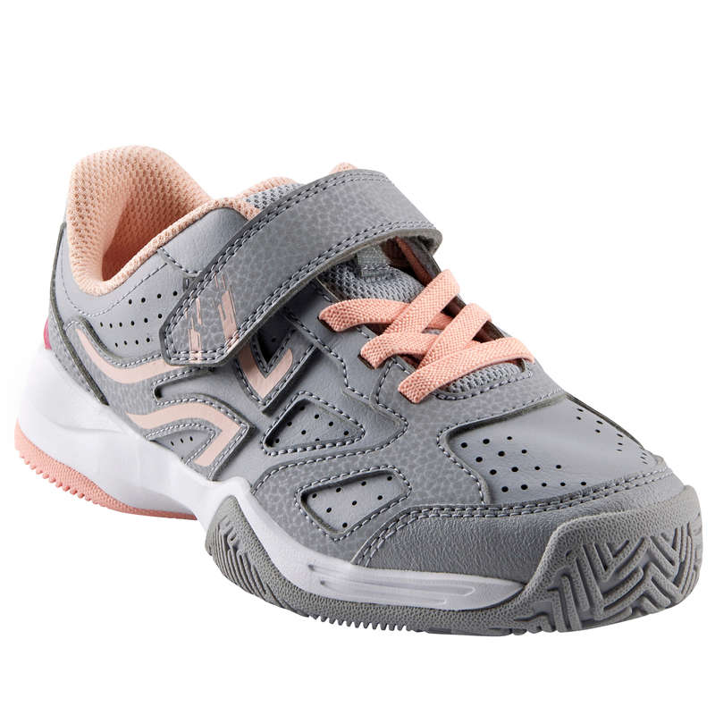 JUNIOR TENNIS SHOE Tennis - Kids' Rip-Tab TS560 Grey/Pink ARTENGO - Tennis Shoes