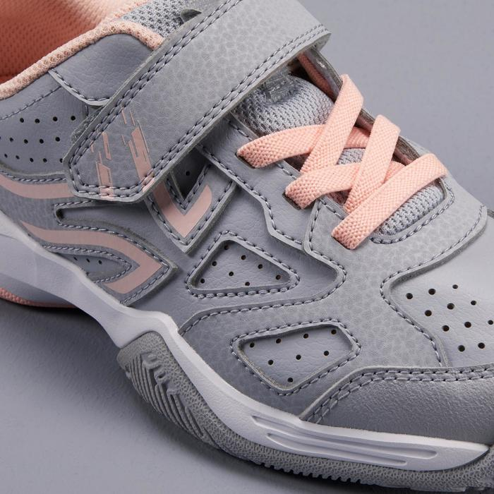 Tennisschuhe TS530 Turnschuhe mit Klettverschluss Kinder grau/rosa