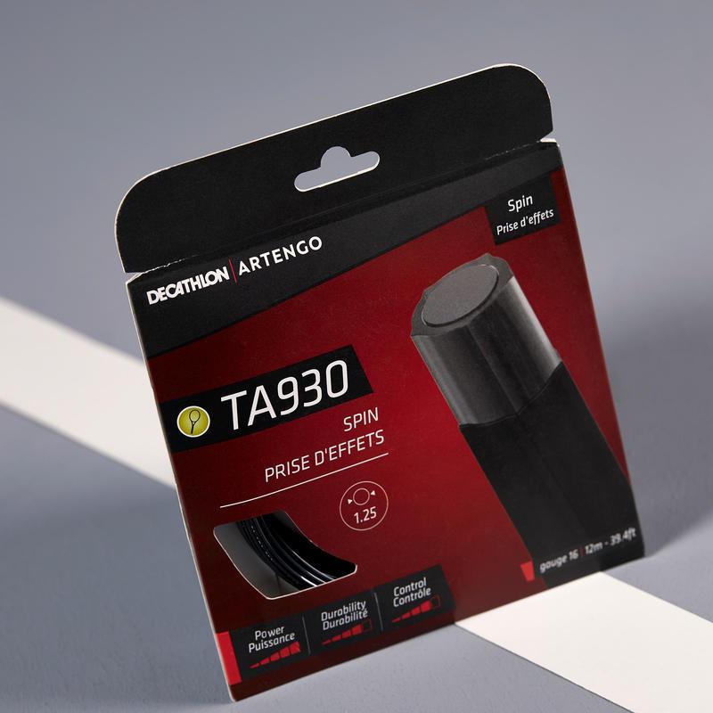 TA 930 Spin Monofilament Pentagonal 1.25 mm Gauge Tennis String - Black