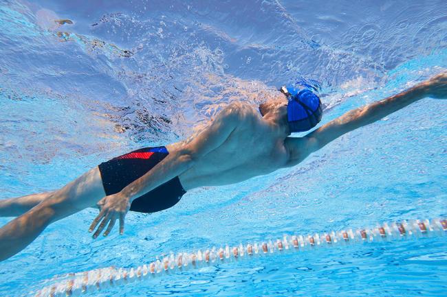 Men swimming boxer shorts - printed black red