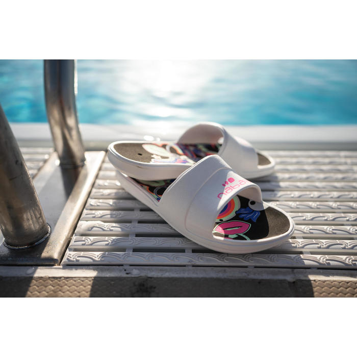Badslippers voor kinderen voor zwembad Slap 500 Derby wit zwart