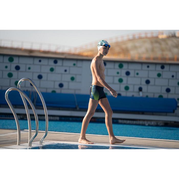 Badehose Boxer Fit 500 Traco Jungen gelb/blau