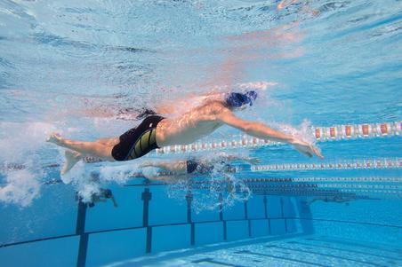 Maillot de bain jammer natation 500 First noir points jaune orange garçons
