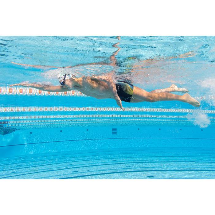 Zwemboxer voor jongens 500 Fit blauw traco geel