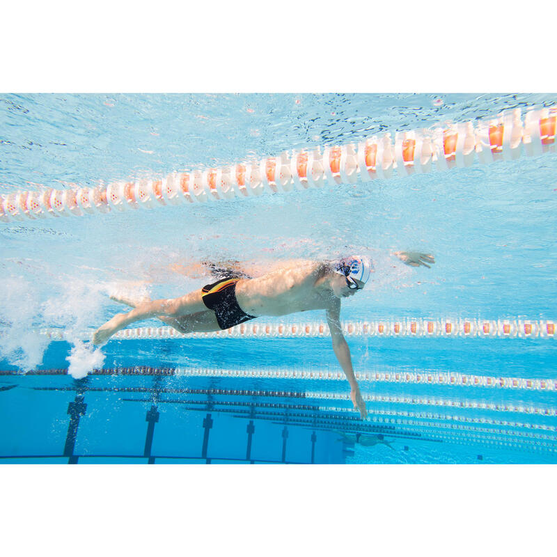 Boys' Swim Shorts Boxer 500 Fit - Black Cadro Orange Green