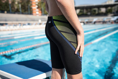 BOY'S FIRST SWIMMING JAMMERS-BLACK DOTS YELLOW ORANGE