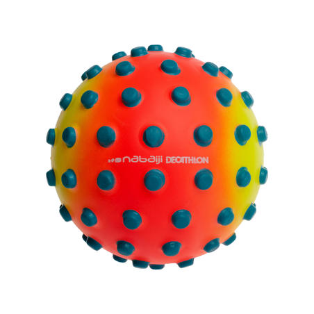 Orange small learning to swim ball with blue dots