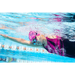 SWIMMING GOGGLES 500 B-FIT BLACK PINK CLEAR LENSES