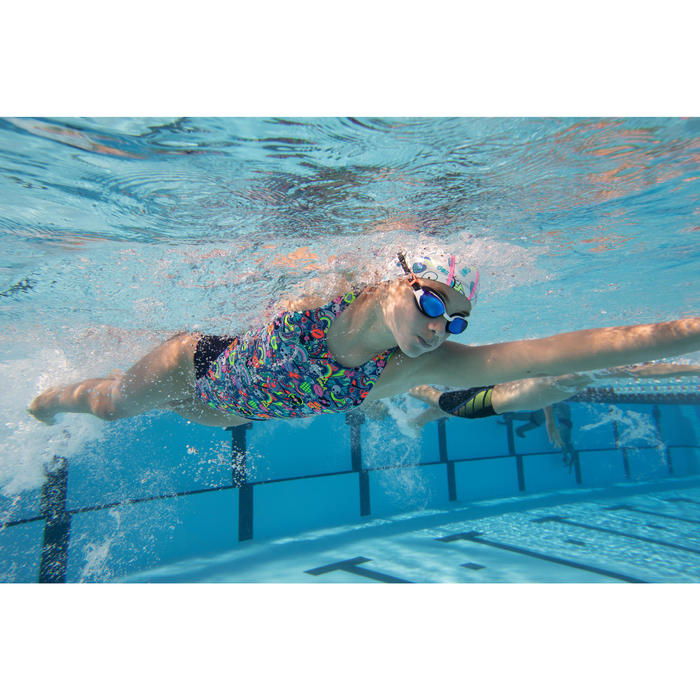 SWIMMING GOGGLES 500 B-FIT ORANGE BLUE MIRRORED LENSES