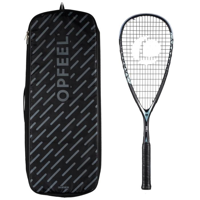 Set Raqueta Squash Opfeel SR 560 Adulto Negro + Funda Para 3 Raquetas