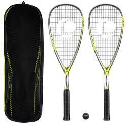 Set 2 Raquetas Squash Opfeel SR 560 Club Adulto + Pelota Punto Rojo + Funda