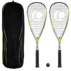 Squashracket set SR 560 Club (2 rackets, bal met rode stip en tas)